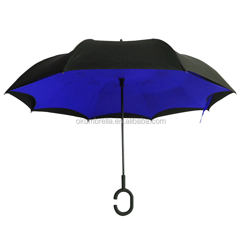 2016 good quality C handle upside down umbrella for cars