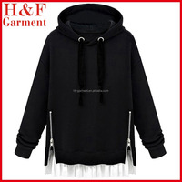 Women fashion flounced side zipper korean style hoodie in black with no pocket