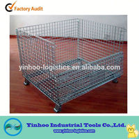 Good quality stackable foldable mesh box wire cage metal bin storage container