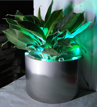 Outdoor rvs planter bloempotten in kegelvorm, LED metalen vaas planter