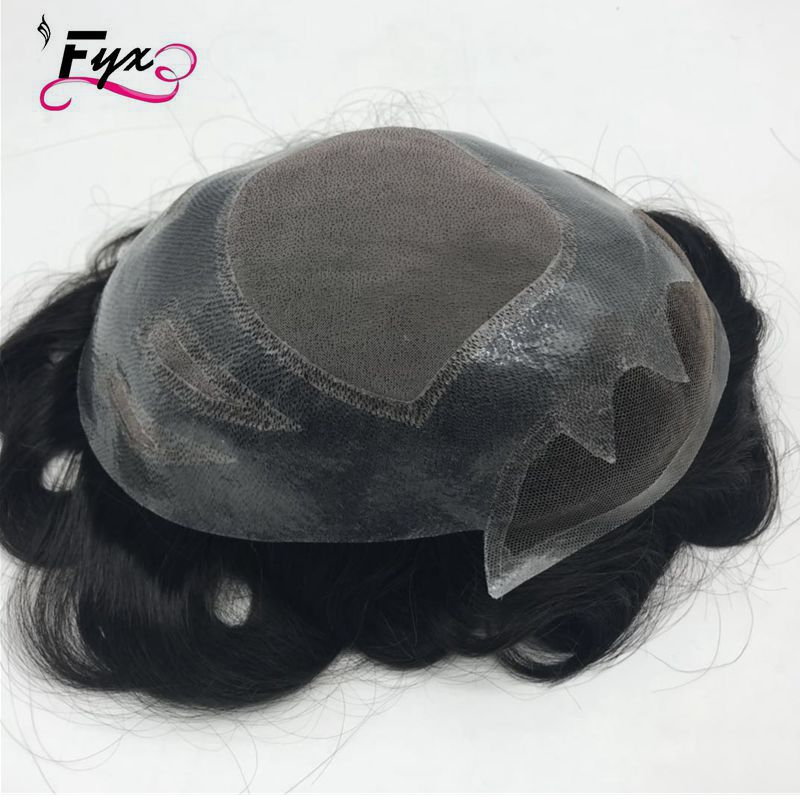 Non surgical hair replacement thin skin men toupee invisible knot hair pieces for black men
