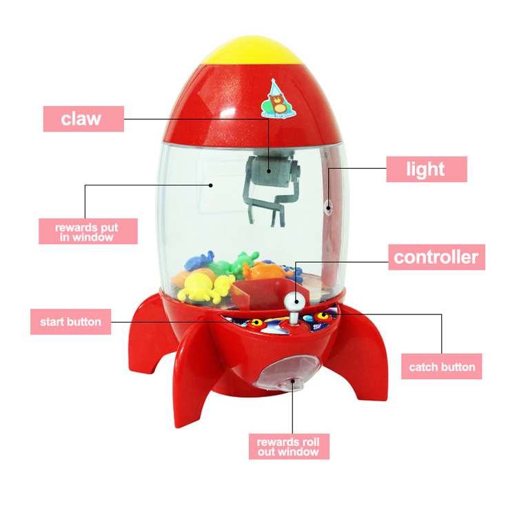 Rocket simulator toy claw crane game machine mini home toys for kids