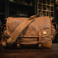Vintage custom design mens waxed canvas leather messenger bags