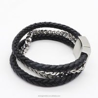 New Hot Leather Stainless Steel Mens