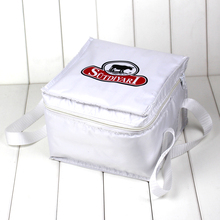 Custom promotional large white 600D polyester thermal insulated lunch cooler bag