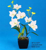 Artificial white dendrobium orchid flower with ceramic pot
