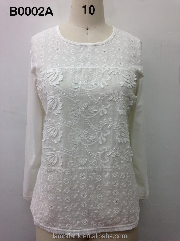cotton lady round neck women blouse cotton spandex hand embroidery