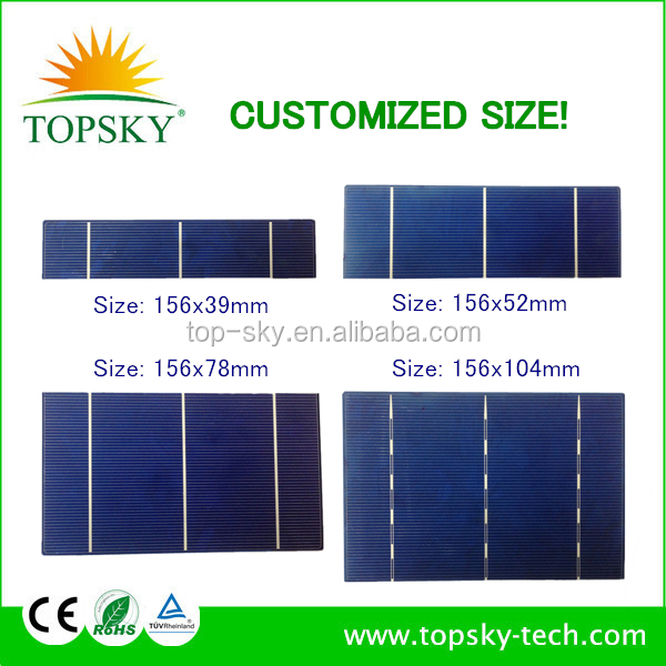 Customized size 156x78 MM 0.5V 2.1W PV broken solar cell with low price many pieces in stock