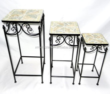 slate mosaic art top Antique Plant Stand
