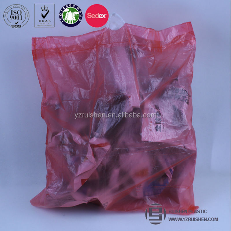 Red Color HDPE Plastic Christmas Garbage Bags On Roll