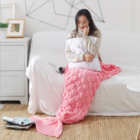 China Wholesale Hot Sale Photography Props Knitted Mermaid Tail blanket
