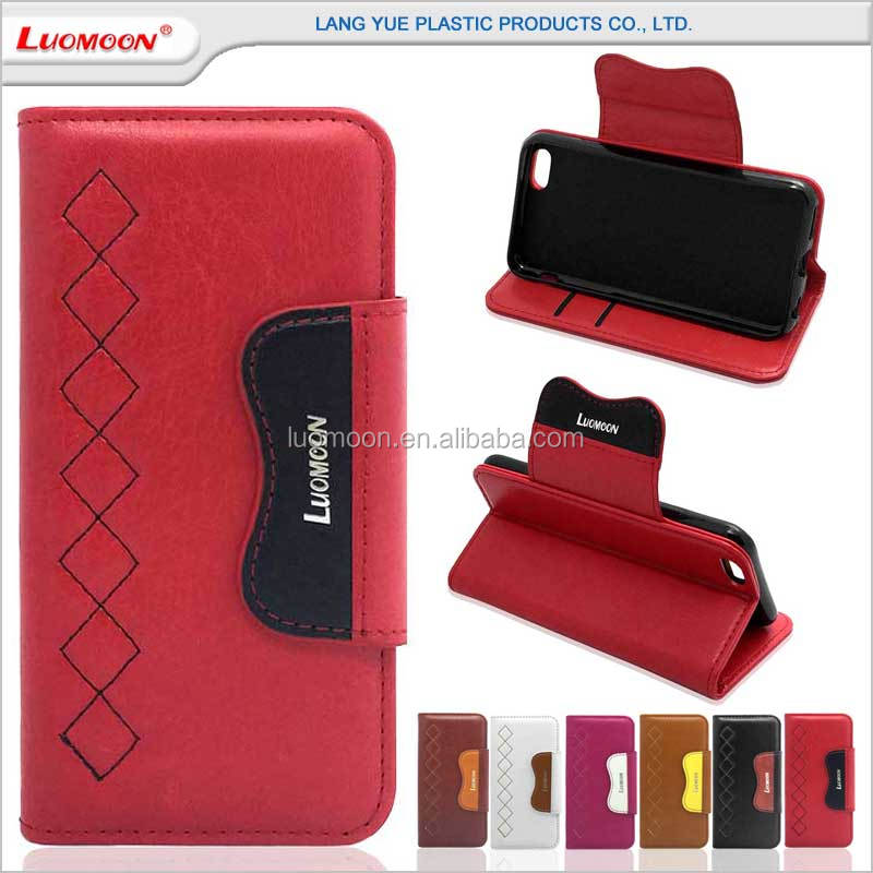wallet style color matching with card slots mobile phone pu leather case for iphone 7 6 5 4