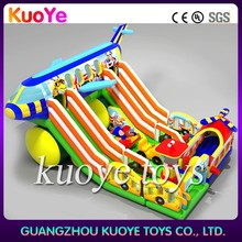 inflatable giant slide for adults,airplane jumper inflatable slide with obstacle,multiplay inflatable playground slide