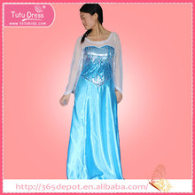 The queen of snow world young girl's party dress with blue silk train & white transparent cloak