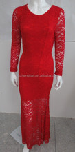 red Sexy Women Long Sleeve round Neck Lace Dress Club Evening Cocktail Party Long Dress