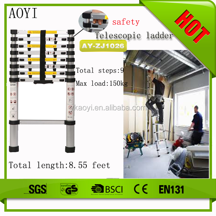 AY-ZJ1026 Factory direct 9 steps telescopic decorative bamboo ladder