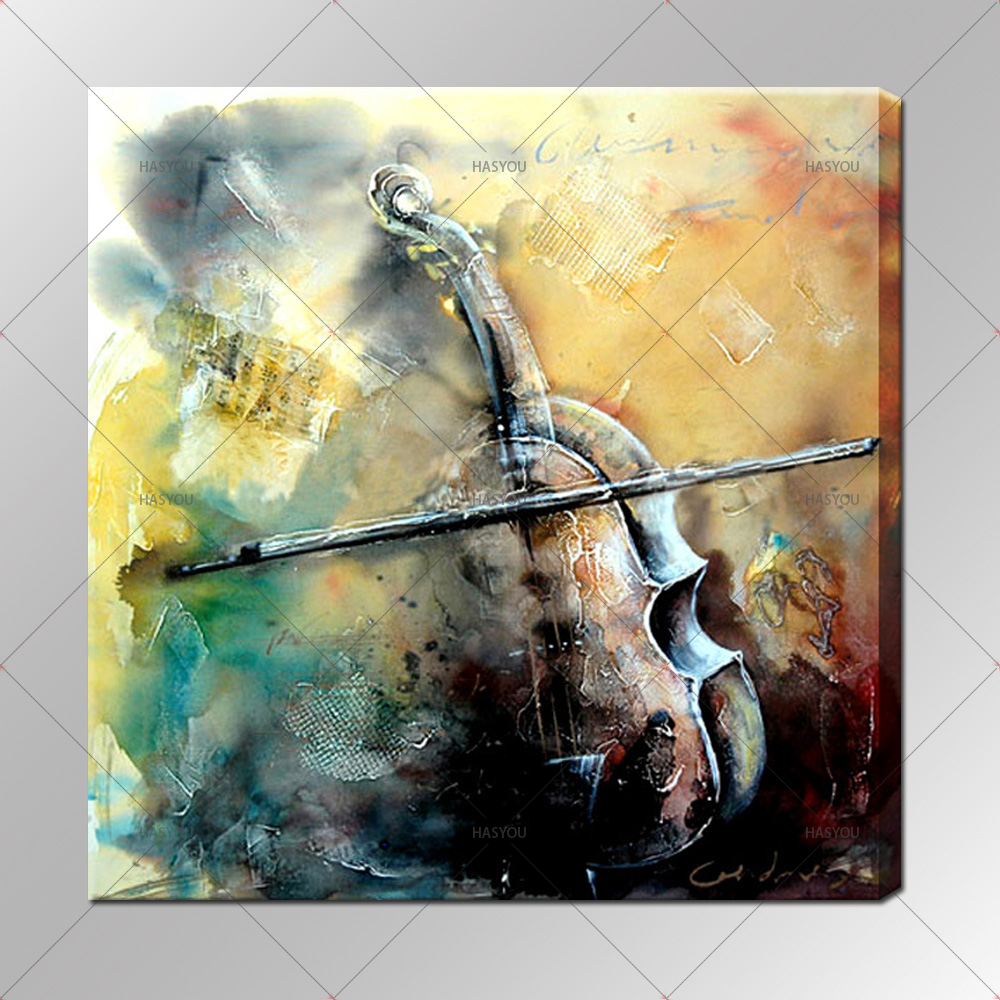 the colorful violin canvas Wall Art Decoration art oil painting ...