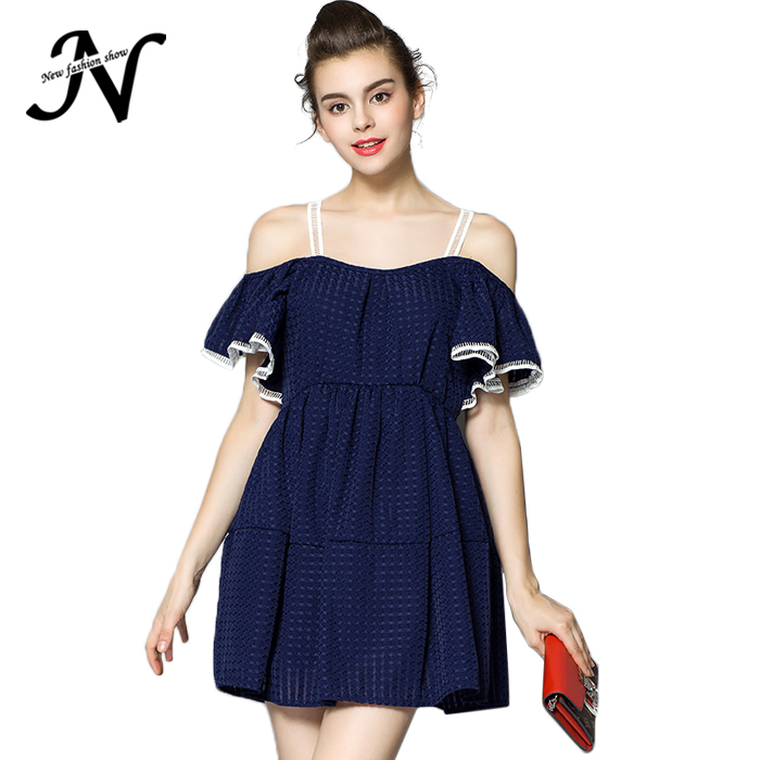 Korea Cute Style Blue White Off Shoulder Fashion Charming Women Sundress Womens Summer Dresses 2015 Summer Casual Dress 1990