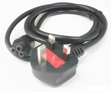 UK Power Cord / Cable, 3-Prong fused plug to C5 Clover Leaf connector
