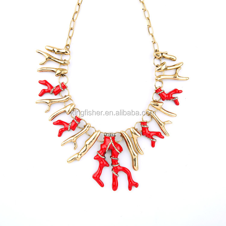 Latest design gold plating alloy chain enamel alloy branch necklace made in China
