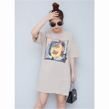 Ladies casual t shirt dress pictures custom print fat loose women dress 2017