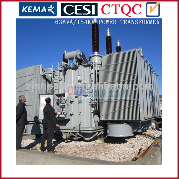 6.3 MVA 6300 KVA 69 KV oil cooled power transformer from china factory with certificate