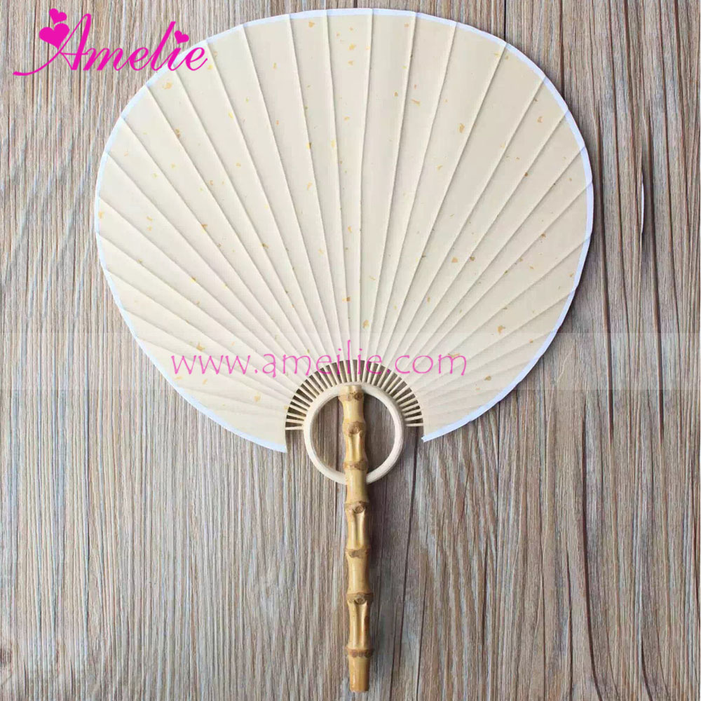 APF163 Bamboo Handle Rice Paper Decorative Hand Fan Wedding