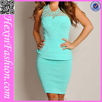 wholesale light blue sexy office dress