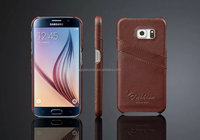 Lichi Pattern Leather Material Hard Case for Samsung S6 with credit card slots, for Samsung s6 case cover leather