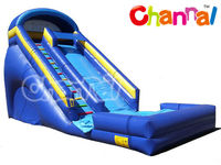 PVC Rental Double Lane Blue Water Wet Inflatable Slide