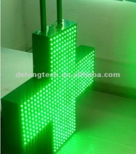 CE RoHS flashing outdoor 40x40cm green double sided led pharmacy sign