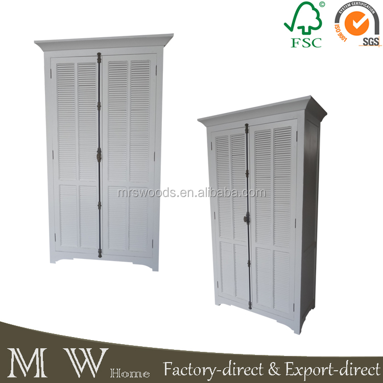 MW Home french country white painted solid pine wood cremone bolt handles louver door wardrobe, wardrobe with louvered doors