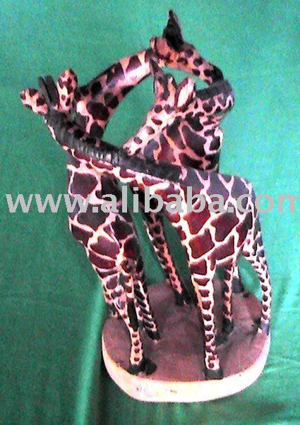 Hand carved wooden giraffe figurine 3 in 1