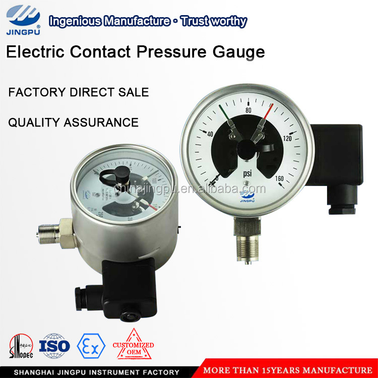 Stainless Steel Induction Type Switch Contact Electric Contact Pressure Gauge