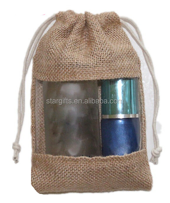 2016 Fashion Wholesale Cheap Custom Small Jute Drawstring Gift Bag With Transparent PVC Windows