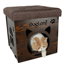 Collapsible multi-function creative chair pet nest wood grain home seat cat and dog house