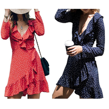 2018 Lady Holiday Dress Summer Chiffon Dress Women Wrap Dress