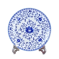 Factory direct selling home decoration blue flower ceramic plate