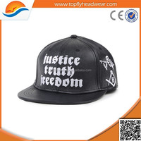 Custom embroidery with PU leather crocodile skin pattern snapback cap wholesale