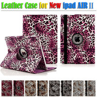 Leopard PU Leather Smart Flip Stand Case Cover for The New apple iPad air 2
