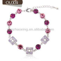 Purple austrian crystal his and hers bracelets gift
