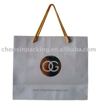 Paper bag with golden stamping