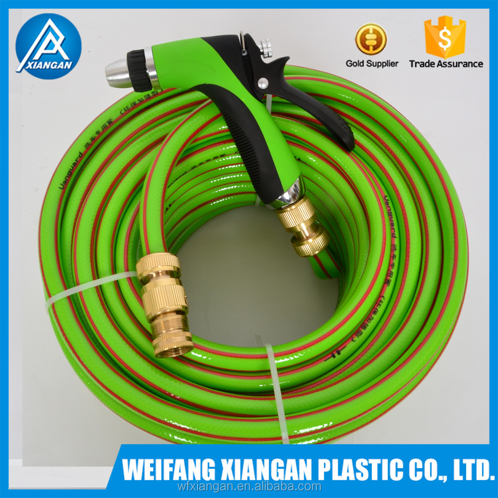 Anti-UV customized PVC garden hose set with brass fitting for family