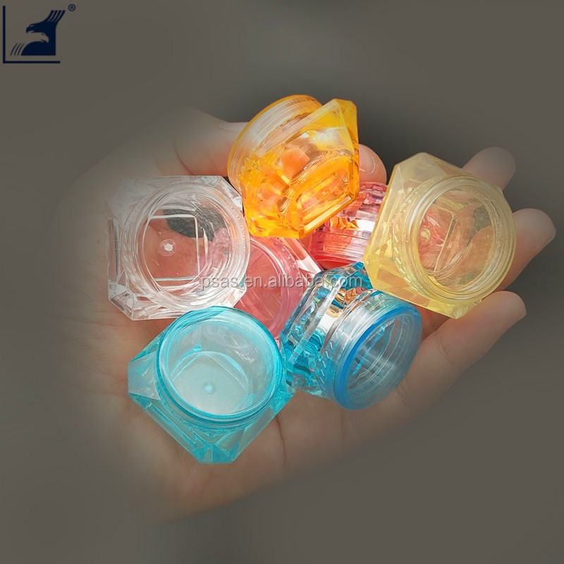 5g Clear Plastic Diamond Small Plastic Cosmetics Cream Jars empty