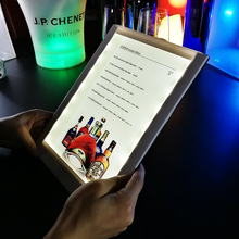 restaurant plastic light up menu book holder card display acrylic table stand leahter led menu cover