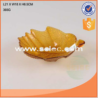 Best-selling393G leaf-shaped glass plate with yellow color wholesale