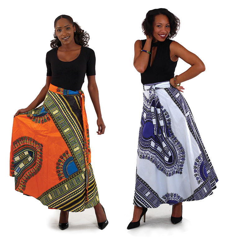Traditional Wax Print Long African Wrap Skirts