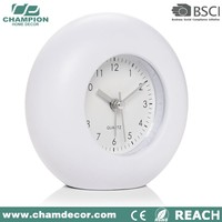 Round shape basic plastic modern white table alarm clock