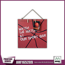 Square Shape Basketball Wall Hanging Frame With Wooden Clips