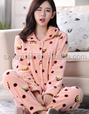 Warm night gown female winter slim coral fleece flannel Flannel Suit